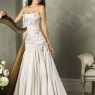 Asymmetrically Wraped Strapless A-line Wedding Dress WN0176