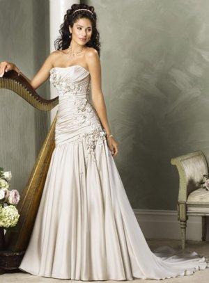 Asymmetrically Wraped Strapless A-line Wedding Dress WN0176