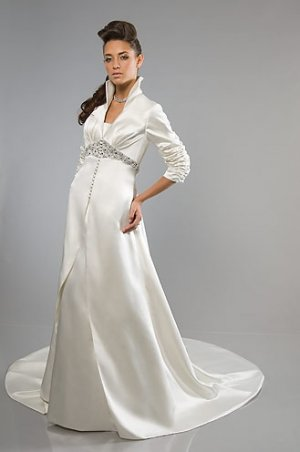 Long Sleeve High-neck Collar A-line Satin Wedding Dress WN0318