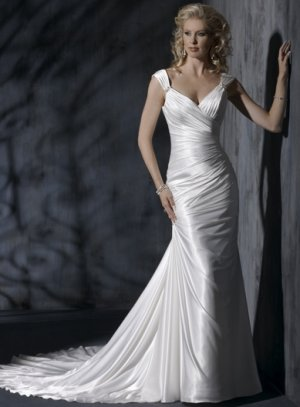 Asymmetrically Wraped Slim Style V-neck Wedding Dress WN0405