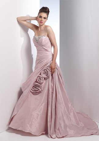 Beaded Strapless Asymmetrically Wraped Taffeta Wedding Dress AI0001