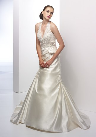 Halter V-neck A-line Satin Wedding Dress AI0006