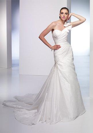 Asymmetrically Wraped Sweetheart One-shoulder Wedding Dress AI0007