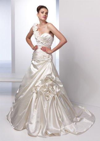 Gorgeous Flowers Decorated Gathered Wedding Dress AI0008