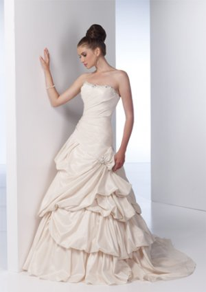 Beaded Neckline Strapless Stack-up Taffeta Wedding Dress AI0009