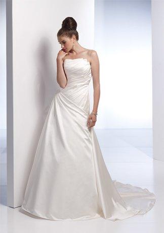 Asymmetrically Wraped Strapless A-line Wedding Dress AI0014
