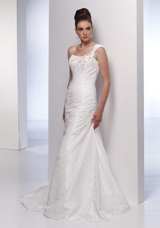 Scatter Appliqued One-shoulder A-line Wedding Dress AI0021