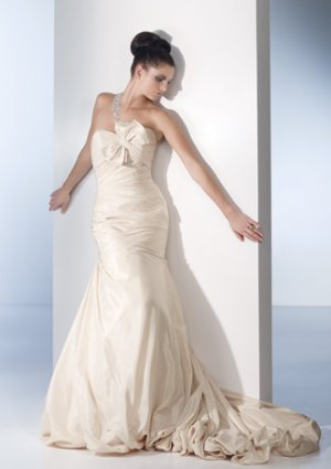Gorgeous Single-shoulder A-line Taffeta Wedding Dress AI0029