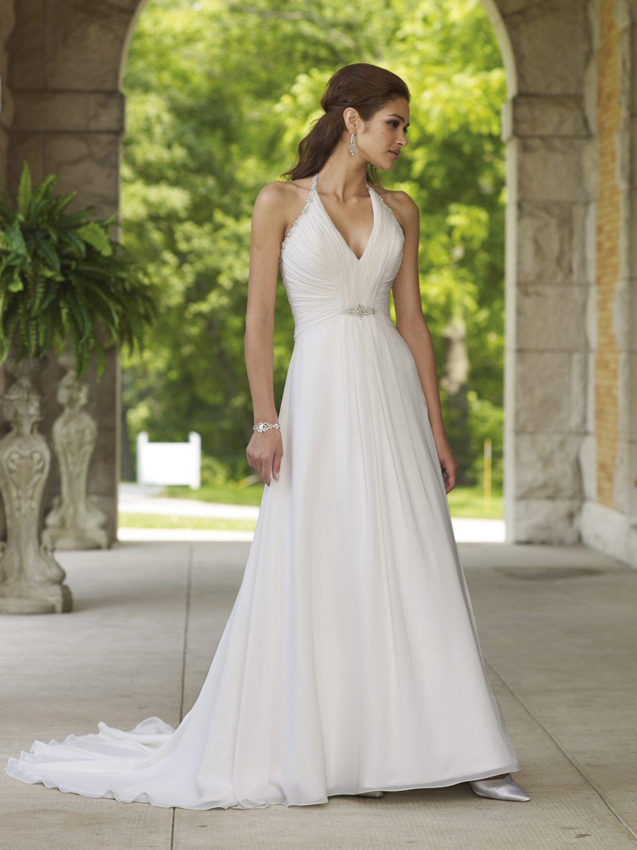 Beaded Halter V-neck Chiffon Wedding Dress MC0006