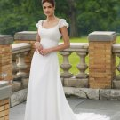Gorgeous Scoop Neckline Cap Sleeve A-line Wedding Dress MC0007