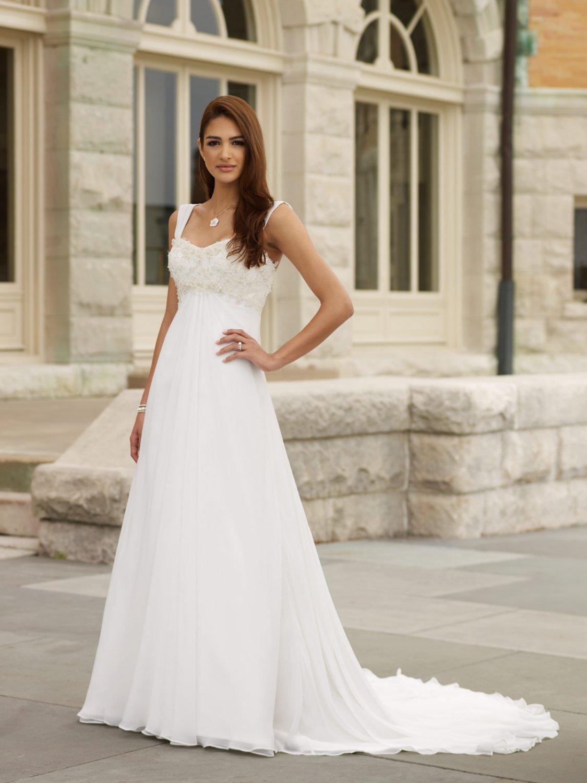 Stunning Appliqued Empire A-line Chiffon Wedding Dress MC0008