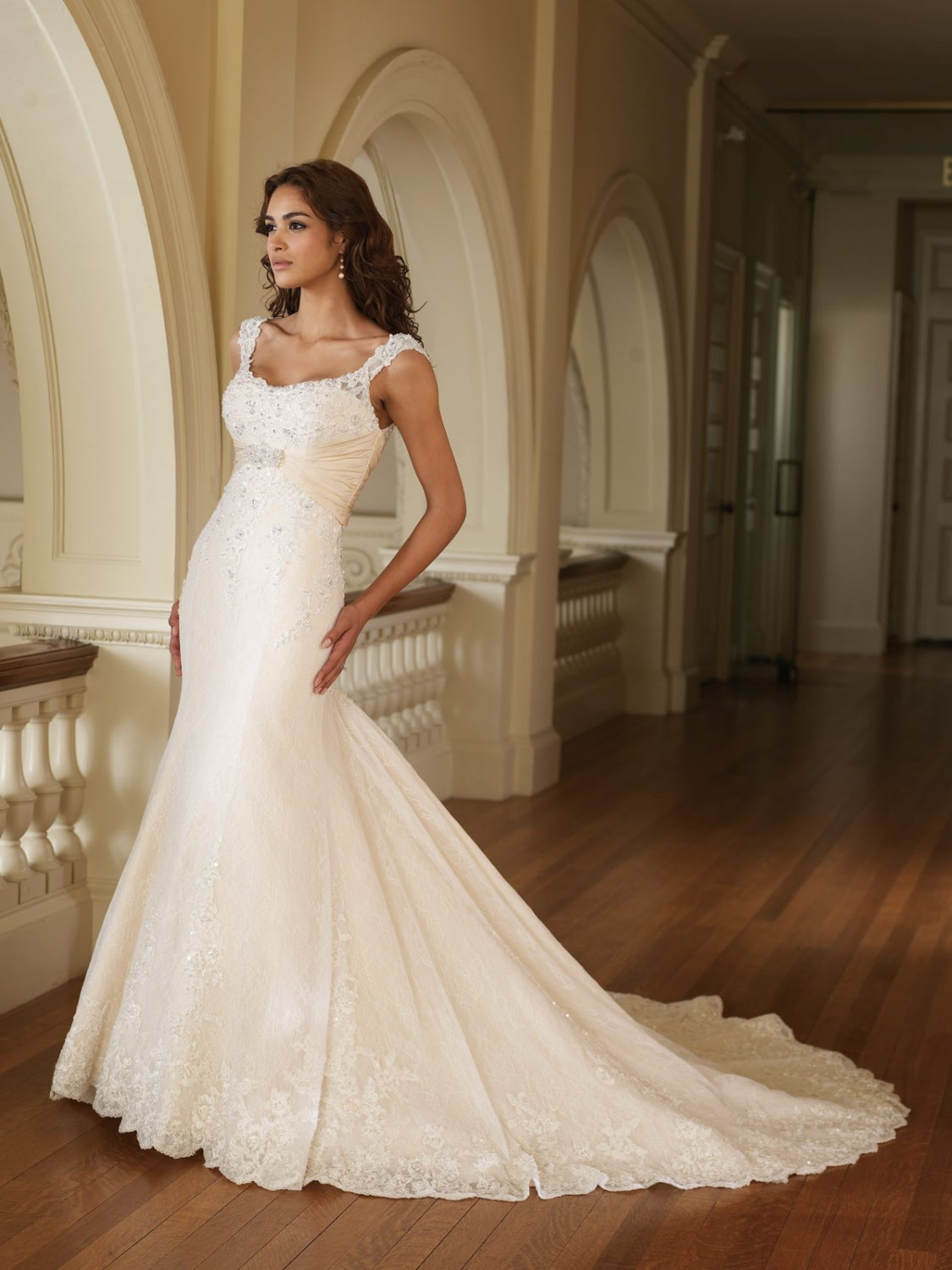 Scatter Appliqued and Beaded Mermaid Wedding Dress MC0009