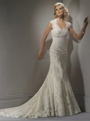 Fully Appliqued Hollow-back Cap Sleeve Wedding Dress WM0003
