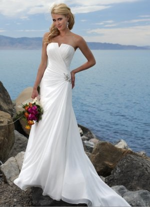 Asymmetrically Wraped Strapless A-line Chiffon Wedding Dress WM0007