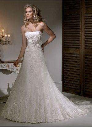 Gorgeous Appliqued Strapless Taffeta Wedding Dress WM0010