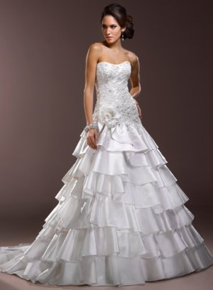 Nice Appliqued Strapless Multi-layer A-line Wedding Dress WM0028