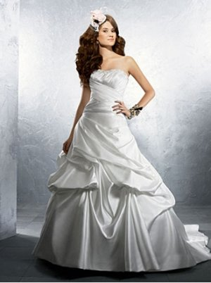Sexy Ruffled Strapless A-line Satin Wedding Dress AA0004