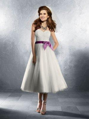Simple but Elegant Sweetheart Strapless T-length Wedding Dress AA0017