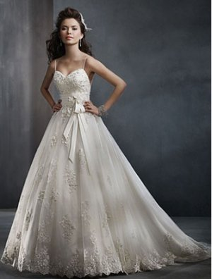 Gorgeous Spaghetti Strap Sweethearted A-line Wedding Dress AA0020