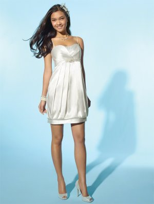 Wedding Dresses/ Wedding Gowns -- Stunning Spaghetti Strap Cocktail Wedding Dress WS0040