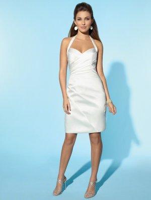 Wedding Dresses/ Wedding Gowns -- Stunning Halter Satin Short Wedding Dress WS0041