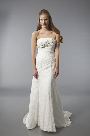 Gorgeous Strapless A-line Lace Wedding Dress AS0008