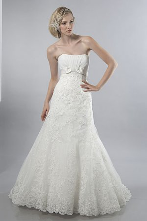 Gorgeous Appliqued Strapless A-line Wedding Dress AS0028
