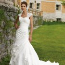 MC0015 Asymmetrically Wraped Stack-up Cap Sleeve Wedding Dress