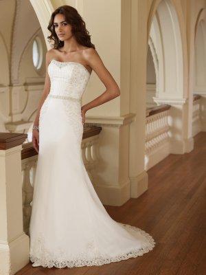 MC0016 Gorgeous Detachable Train Beaded Trumpet Strapless Wedding Dress