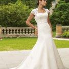 MC0017 Stunning Cap Sleeve Hollow-back A-line Wedding Dress