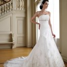 MC0023 Gorgeous Appliqued and Beaded Strapless A-line Wedding Dress