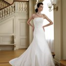 MC0030 Appliqued and Pleated Trumpet Strapless Wedding Dress