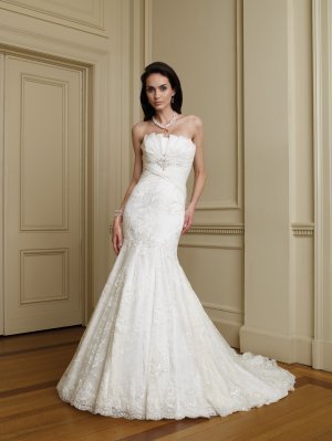 MC0036 Gorgeous Strapless Mermaid Lace Wedding Dress