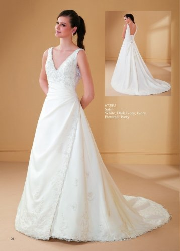 Appliqued Sleeveless V-neck Satin Wedding Dress AM0046