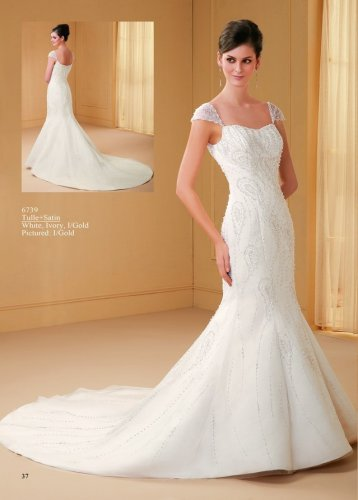 Nice Beaded Cap Sleeve Mermaid Wedding Dress AM0045
