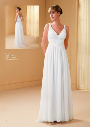 V-neck Sleeveless A-line Chiffon Wedding Dress AM0039