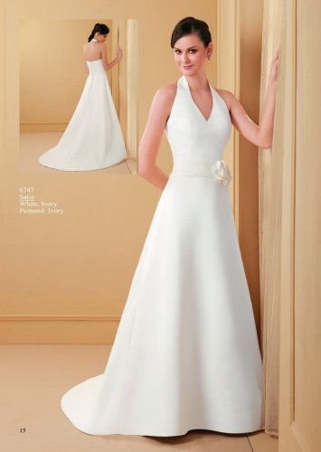 Stunning Halter A-line Satin Wedding Dress AM0025