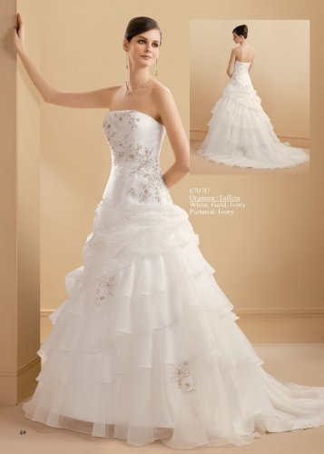 Scatter Appliqued Strapless Tiered Organza Wedding Dress AM0023