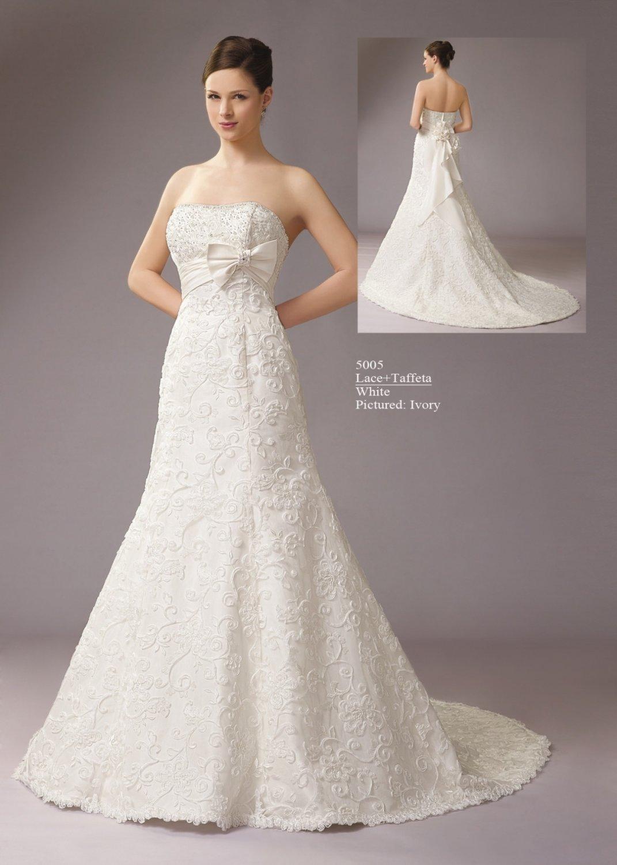 Strapless Empire A line Lace Wedding Dress AM0013