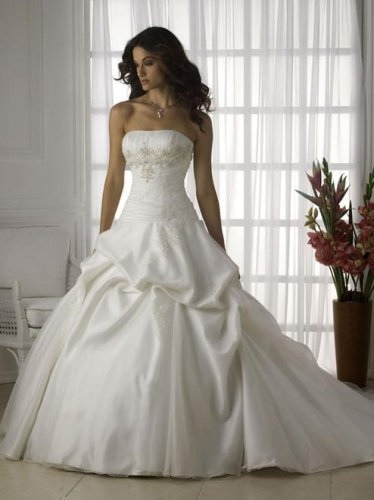 Appliqued Strapless Tiered Stack-up Wedding Dress JC0017