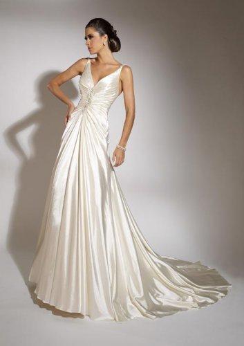 Backless V-neck A-line Wedding Dress JC0010