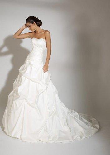 Beaded Neckline Strapless Stack-up Wedding Dress JC0009