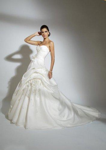 Flowers Sweetheart Strapless Organza Wedding Dress JC0001