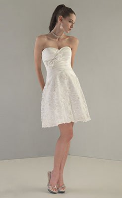 Wedding Dresses/ Wedding Gowns -- Strapless Mini Bridal Gown WS0035