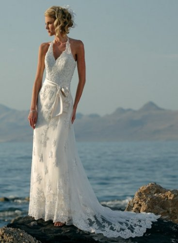 Wedding Dresses/ Wedding Gowns -- Halter Lace Bridal Gown WB0019
