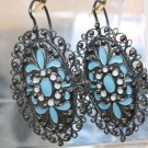 VINTAGE  RUSSIAN 875 SILVER FILIGREE ENAMEL EARRINGS SOVIET USSR FROM EXPPO'67 MONTREAL
