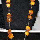 VINTAGE RUSSIAN BALTIC BUTTERSCOTCH AMBER LONG NECKLACE  USSR SOVIET 1967