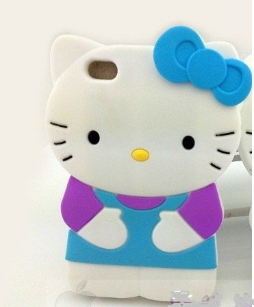Hello kitty 3D Ipod Touch 4 4th Generation Blue Soft Silicone Case Cover