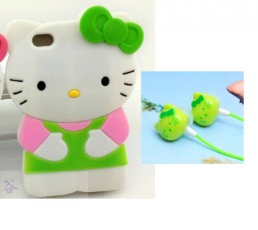 Hello kitty 3D Green Ipod Touch 4 4th Generation Soft Silicone Case Cover / Free Headphones