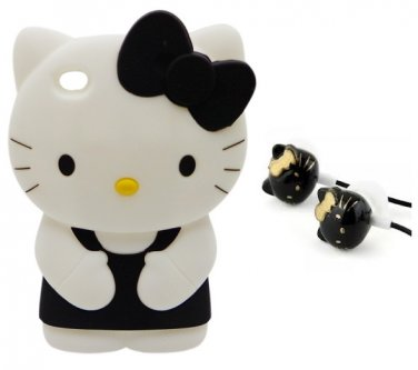 Hello kitty 3D Black Ipod Touch 4 4th Generation Soft Silicone Case Cover / Free Headphones